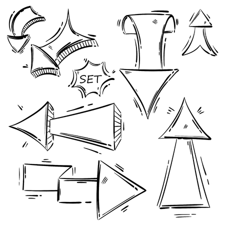 Abstract vector set of arrows, sketch style.
