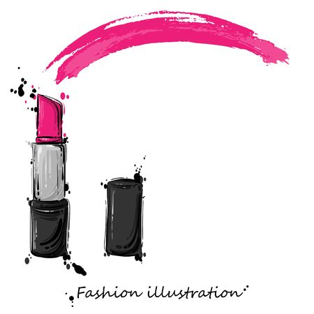 Vector abstract illustration of red lipstick. Fashion illustration. Imagens - 96618976