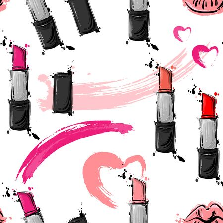 Abstract vector seamless pattern with lipstick, fashionable illustration. Ilustração