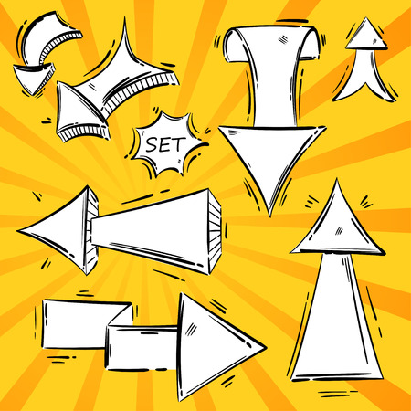 Vector abstract set of arrows. Sketch style.