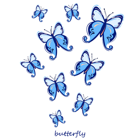 Vector abstract illustration with butterfly. Isolated background. Nature