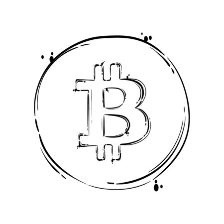 Isolated vector illustration. Bitcoin sign icon for internet money.