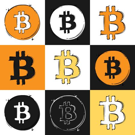 Isolated vector illustration. Bitcoin sign icon for internet money.Set
