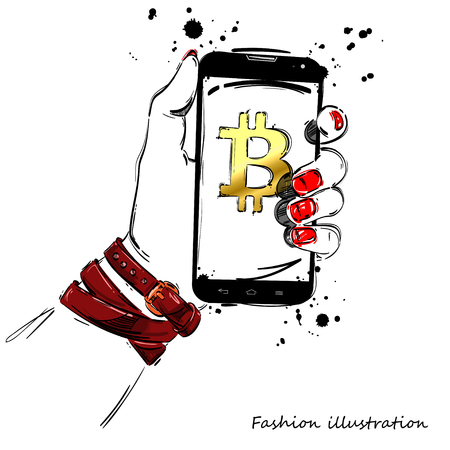 Vector abstract illustration with mobile phone in hand. Bitcoin