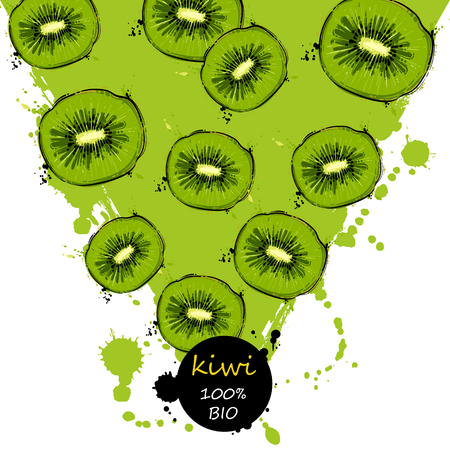 Vector abstract illustration with kiwi. Background for design of packing. poster. cover, banner and other.