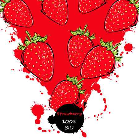 Vector abstract illustration with strawberry. Background for design of packing. poster. cover, banner and other.
