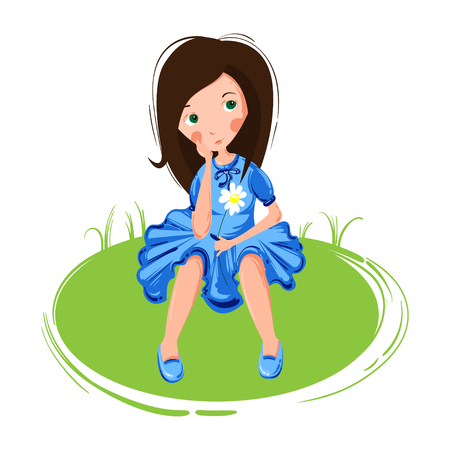Vector abstract illustration of a dreaming girl on a white background. The girl is sitting on the grass. Illustration