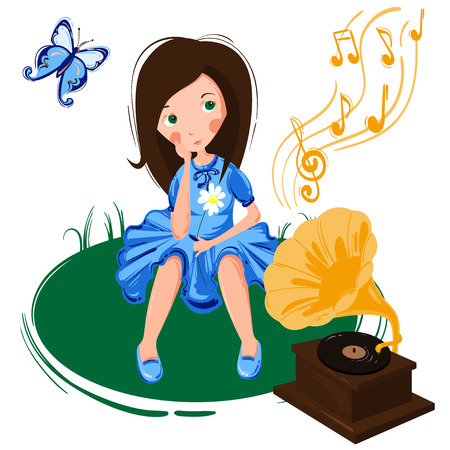 Vector illustration with a girl, butterfly and gramophone. A girl is listening to music.