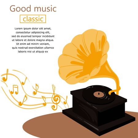 Vector abstract background with gramophone. Ilustração