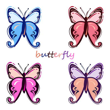 Vector abstract illustration with butterfly. Isolated background. Nature Imagens - 96176036