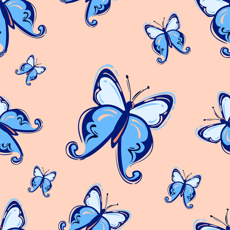 Vector abstract illustration with butterflies. Seamless pattern.
