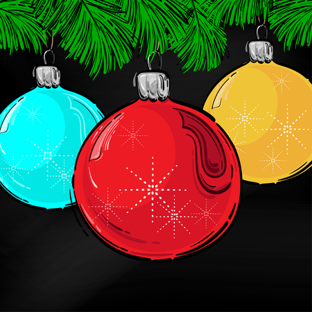 Abstract vector illustration of a New Years ball. Christmas tree toy. Design for a holiday greeting card. Ilustração