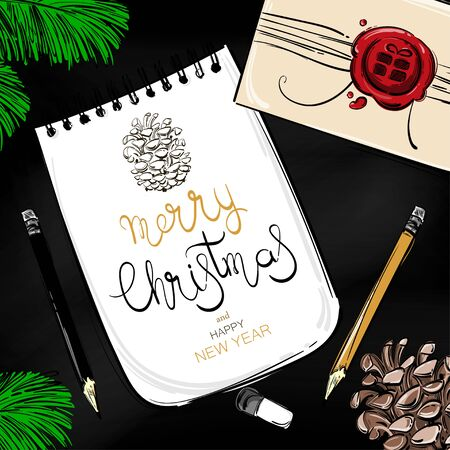 Abstract vector illustration of a New Year desktop. Top view. Christmas background with fir branches, fir cones, a gift, a notebook, a pencil and eraser Imagens - 96183603