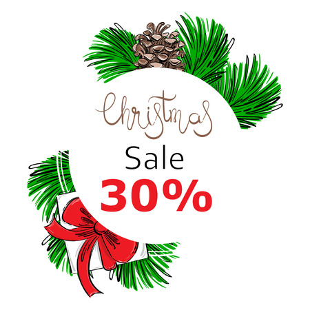 Vector abstract illustration with fir branches, fir cones, gifts. Christmas sale. Imagens - 96619612