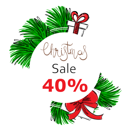 Vector abstract illustration with fir branches, gifts. Christmas sale. Ilustração