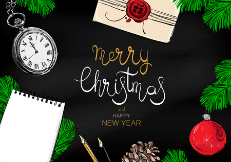 Abstract vector illustration with fir branches, Christmas ball, pocket watches, fir cones, notepad and pencil. Christmas background for your design. Imagens - 96428717