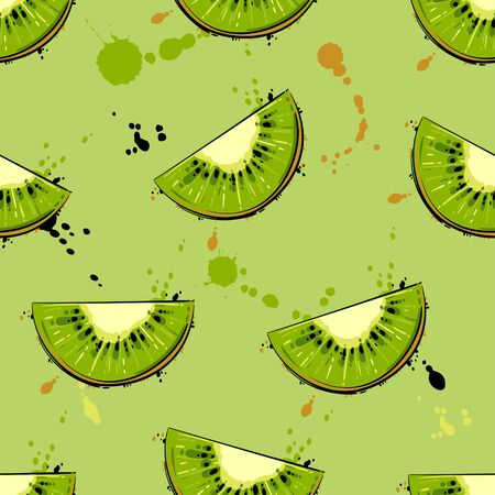 Vector abstract background with kiwi. Seamless pattern.