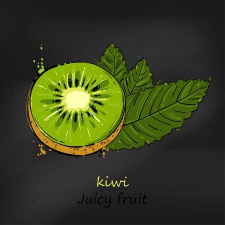 Vector abstract illustration with kiwi.Juicy fruit. Blackboard. Ilustrace