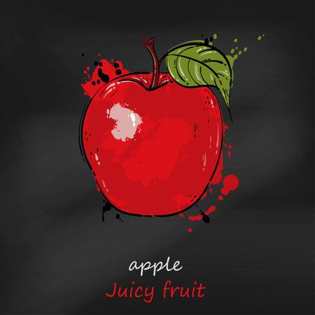 Vector abstract illustration of a red apple. Juicy fruit. Blackboard. Ilustrace