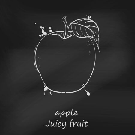 Vector abstract illustration of an apple. Juicy fruit. Blackboard.