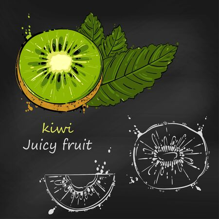 Vector abstract illustration with kiwi.A set for your design of postcards, menus, banners, posters, advertisements and others. Juicy fruit. Blackboard.
