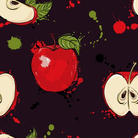 Vector abstract illustration with a red apple. A seamless pattern for the design of fabric, wallpaper, background, postcard and other.