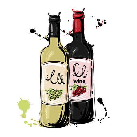 Vector illustration of white and red wine. Background for menu design, flyer, banner Векторная Иллюстрация