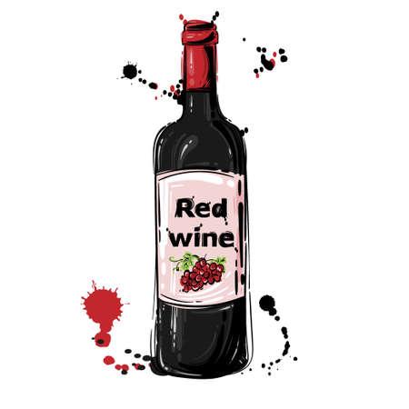 Vector illustration of red wine. Background for menu design, flyer, banner