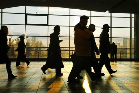 business life line: City people walking in a futuristic tunnel