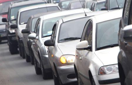 Morning traffic jam on a road in Kiev photo