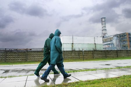 people walking near the Chornobyl Nuclear Power Plant 1 Stock Photo - 2816084