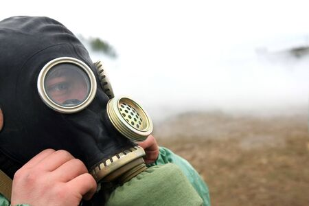 soldier dress gas mask Stock Photo - 3638530