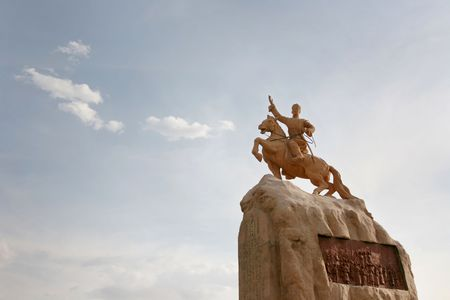 independent mongolia: Ulan Bator: statue of Damdin Sukhbaatar - defeated Ungern von Sternberg and the Chinese. Mongolia