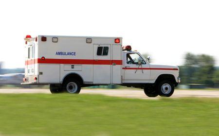 emergency ambulance: Emergency ambulance driving very fast