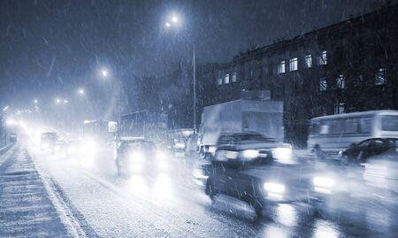 night traffic on the road in Kiev