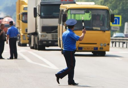 policeman on the road 1 photo