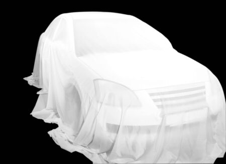 coberto: Covered Car on a car show. isolated