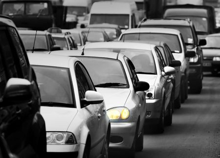 slowdown: Morning traffic jam on a road in Kiev 3