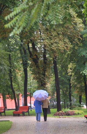 couple under umbrela walk in autumn park Stock Photo - 4625838