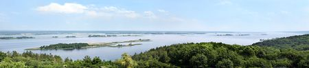 dniper: aerial view on Dnipro river. panorama xxxl Stock Photo
