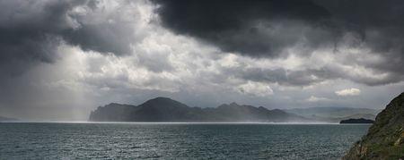 view on Karadag mountain during the storm. Crimea. Ukraine Stock Photo - 5049444