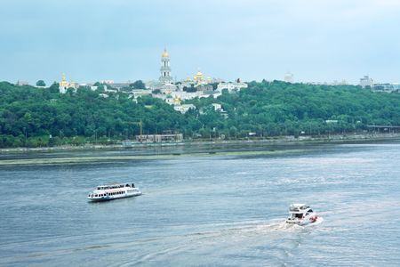 dniper: view on Kiev from the Paton bridge Stock Photo