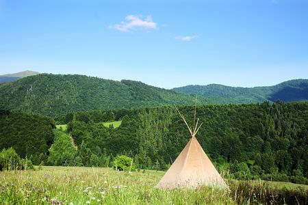 teepee: teepee in the Carpathian Mountains Stock Photo