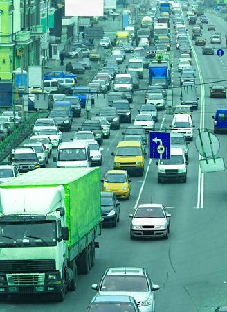 bottleneck: Morning traffic jam on a road in Kiev