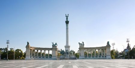Heros Square Budapest. A square dedicated to the Hungarian Kings. photo