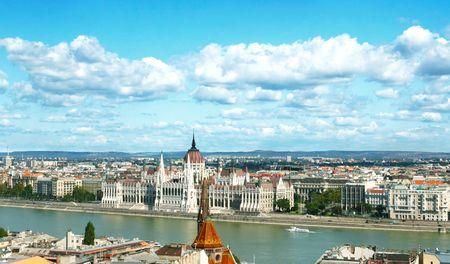 Hungarian Parliament Buildings and Danube River photo