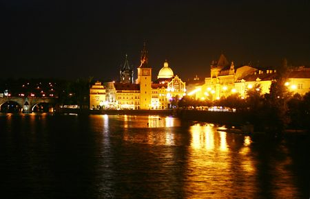 Prague in the night. Czech Republic photo