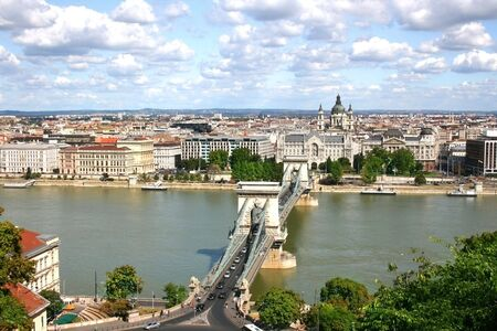 the danube: View of Budapest over the River Danube from Castle Hill. Hungary Stock Photo