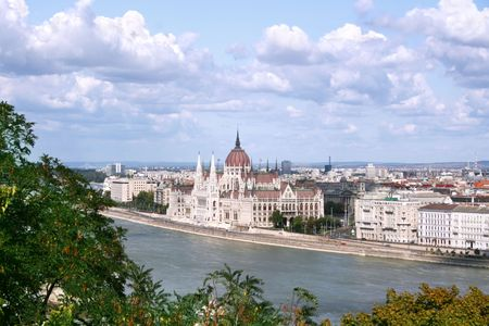 Hungarian Parliament Buildings and Danube River. Budapest photo