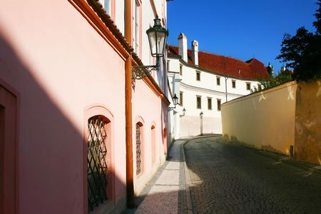 Empty street of Prague in the sunshine day. Czech Republic photo